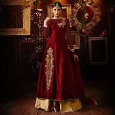 blood red lehenga style designer ladies suits online
