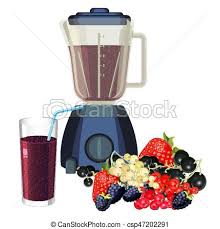 Blender And Glass Of Smoothie Made Healthy Fruits Vector