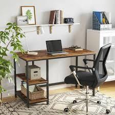 vasagle schreibtisch computertisch im industrie design pc tisch für bürotisch mit 2 regalebenen auf der rechten oder linken seite arbeitstisch fürs
