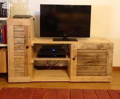 Entertainment Center Made Out Of Discarded Pallets Pallet TV Stand Rack
