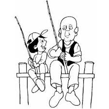 Old Man Fishing With Boy Coloring Sheet