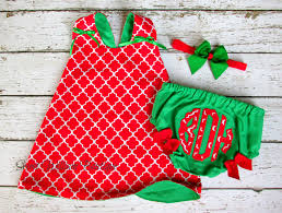 monogrammed christmas for baby dress diaper cover