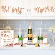 MORDUN Mimosa Bar Supplies Rose Gold Sign Banner Tags Kit Bridal Shower Decorations Decor For Baby Shower Champagne Brunch Bubbly Bar Wedding