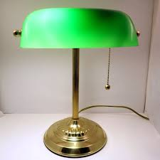 Antique Bankers Lamp Green by Vintage Bankers Lamp Green Emerald Glass Shade Brass Frame By