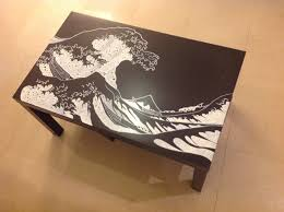 Used Ikea Lack Sofa Table by Reinventing Of An Ikea Table A Negative Rendition Of Hokusai U0027s