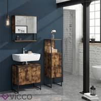 vicco badschrank fyrk vintage badezimmerschrank midischrank badregal 3 fächer