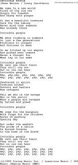 Peter Paul and Mary song Invisible People lyrics