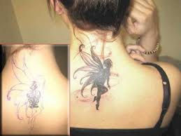 Back Neck Angel Wings Cover Up Tattoo Tattooeve
