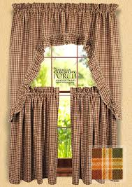 Pink Ruffled Window Curtains by New England Plaid Ruffled Window Curtain Swags