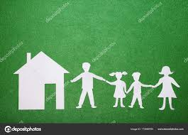 Parents And Children Holding Hands Paper Family Figures House