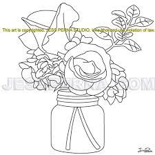 Mason Jar Flowers Quilt Block Pattern Designer