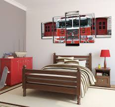 5 Panels Canvas Prints Painting Retro Fire Engine Truck Wall Art ...