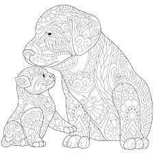 Coloring Pages Of Dogs And Cats Page Dog Cat