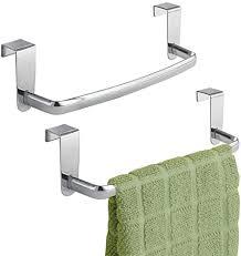 mdesign 2er set geschirrtuchhalter für die küche handtuchhalter küche zum einhängen in die küchenschranktür badetuchhalter aus metall