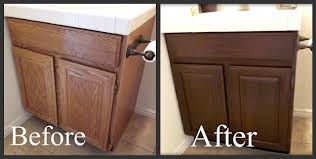 staining oak cabinets a darker color it minimizes the grain