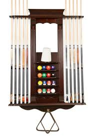 Billiard Cue Rack Wall 10 Pool Stick and Ball Racks Mahogany