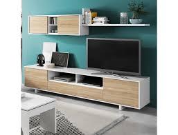 wohnzimmer set 200 cm glänzend weiß und kanadische eiche farbe eiche hell weiß
