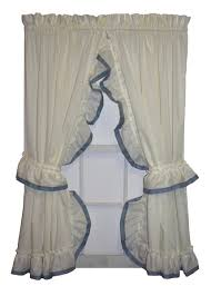 Jacobean Floral Country Curtains by Lucy Country Ruffled Priscilla Window Curtains With Banded Edge