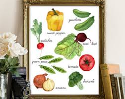 Vegetable Printable Kitchen Decor Print Vegetables Art