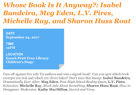 And On Sunday Ill Be Joining A YA Author Panel For Fun Game Of Whose Book Is It Anyway At The Baltimore Festival Inner Harbor
