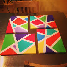 DIY Canvas Painting Using Painters Tape