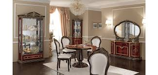 Luxor Day Italian Dining Room Set In Mahogany China Cabinet Small Corner Round Table And Glass