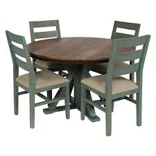 Picture Of Antique Teal Dining Table And 4 Chairs
