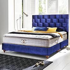 boxspringbett 180x200 royalblau zürich hotelbett doppelbett matratze topper modern luxus bett 180x200cm royalblau