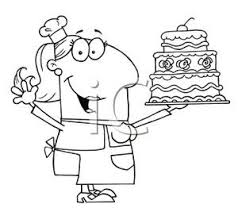 A Black and White Cartoon of a Bakery Chef Holding a Cake Royalty Free Clipart Picture