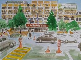 Christmas Tree Lane Fresno Shuttle by Electric Poles In Streets Urban Sketchers