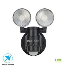 100 Defiant Truck Products 180 Degree 2Head Black Motion Activated Outdoor Flood Light