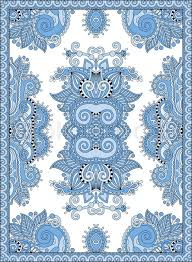 Blue Colour Ukrainian Floral Carpet Design For Print On Canvas Or Paper Karakoko Style Ornamental Pattern