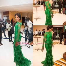 new arrival red carpet miss nigeria mermaid long sleeves green