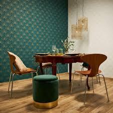livingwalls vliestapete new walls tapete 50 s glam deco optik metallic blau grün