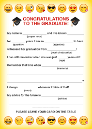 Halloween Mad Libs Pdf by Party Simplicity Free Printable Emoji Graduation Party Mad Libs