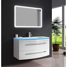 oimex badmöbel set weiß hochglanz waschtisch 90cm inkl led waschbecken led beleuchtung armatur und spiegel badezimmermöbel set mit glas