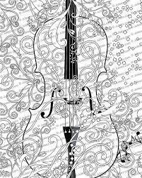 Printable Coloring Poster Adult Page FREE Violin Art Line Instant Download By Juleez