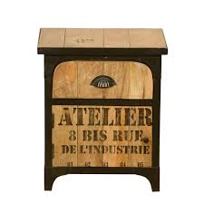 Industrial Shipping Crate Mango Wood Iron Nightstand End Table