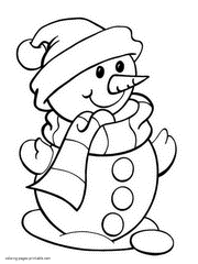 Snowman Coloring Pages For Kids Without Pay