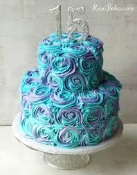 Teal & Lavender Swirled Buttercream Roses 15th Birthday Cake