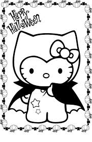 Happy Halloween Coloring Pages Cute Hello Kitty