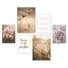 kreative feder poster natur blüten blumen gräser entspannung spruch set 6 stück 6 teiliges poster set kunstdruck wandbild posterwand