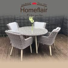 Homeflair Rattan Garden Furniture Danielle Brown Round Dining Table + 4  Chairs Set