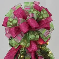 Large Lime Green Hot Pink Christmas Tree Topper Bow