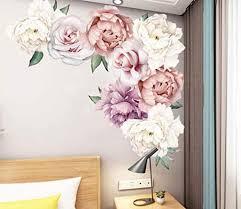 wandtattoo wandaufkleber pfingstrose blumen ranke rosa wandsticker wandbild bilder wohnzimmer schlafzimmer deco