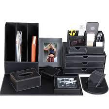 Leather fice Desk Accessories Organizer Stationery Desk Set