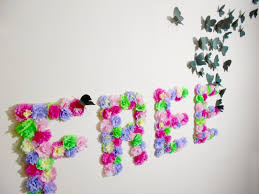 Startling Room Decoration With Paper DIY Flowers And Butterflies Wall Art Idea Ribbons