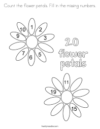 Count The Flower Petals Fill In Missing Numbers Coloring Page