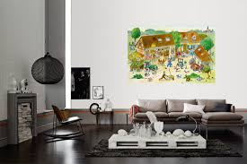 fototapete bauernhof mit tieren wimmelbild für kinder