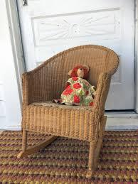 Antique Vintage Yellow Wicker Rocker Child Doll Furniture ...